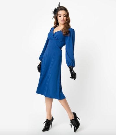 Micheline Pitt For Unique Vintage 1950s Style Royal Blue Pris Swing Dress