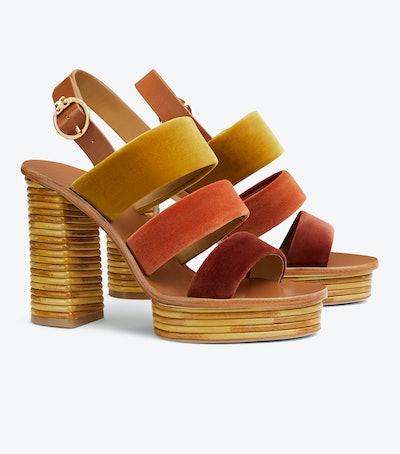 Patos Velvet Platform Sandal