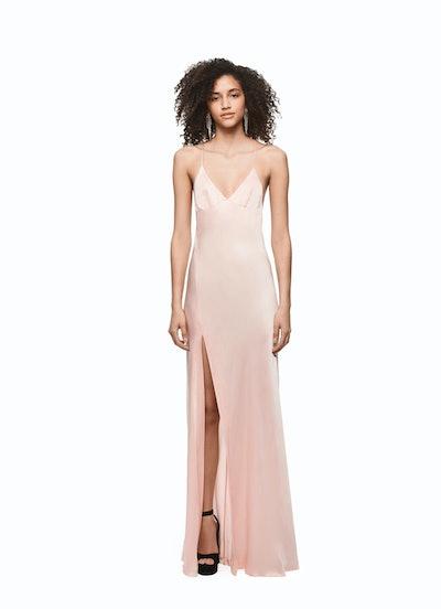 Floor Length Satin Split Dress