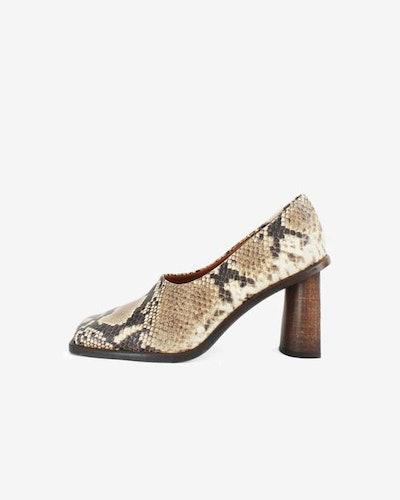 Dani Leather Snake Heels
