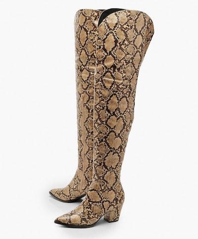 Thigh High Snake Western Boots