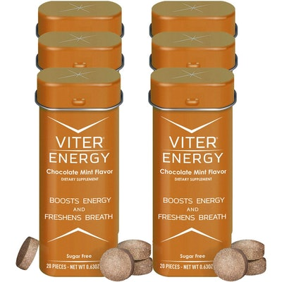 Viter Energy Caffeinated Chocolate Mints With 40 mg of Caffeine (6-Pack)