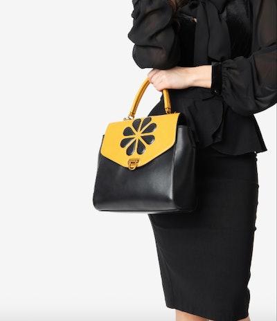 Black & Mustard Yellow Leatherette Waterlily Purse