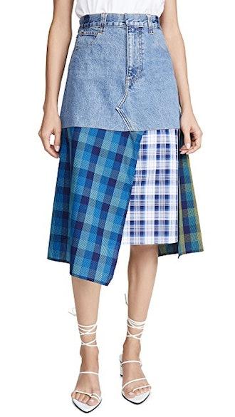 Denim Skirt With Cotton Panels