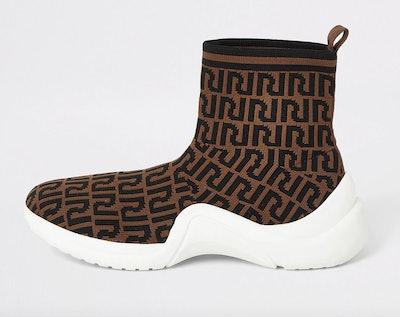 Brown RI Monogram Print Sock Runner Trainers