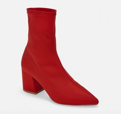 Red Pointed Toe Sock Boots