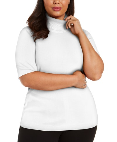 Plus-Size Elbow-Sleeve Turtleneck