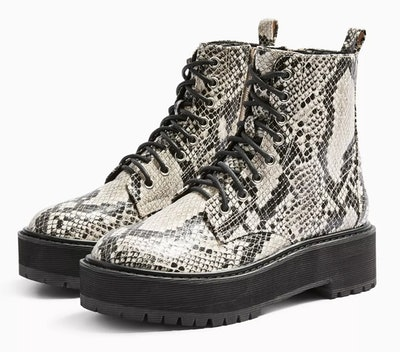 Oslo Snake Chunky Lace Up Boots