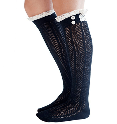 Modern Boho Button Boot Socks With Lace Trim