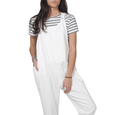 Organic Overall Dungarees in White Denim