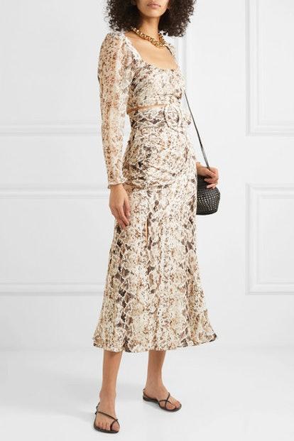 Ruched Snake-Print Silk-Chiffon Midi Skirt