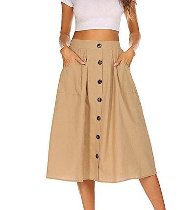 Naggoo Front Button Midi Skirt