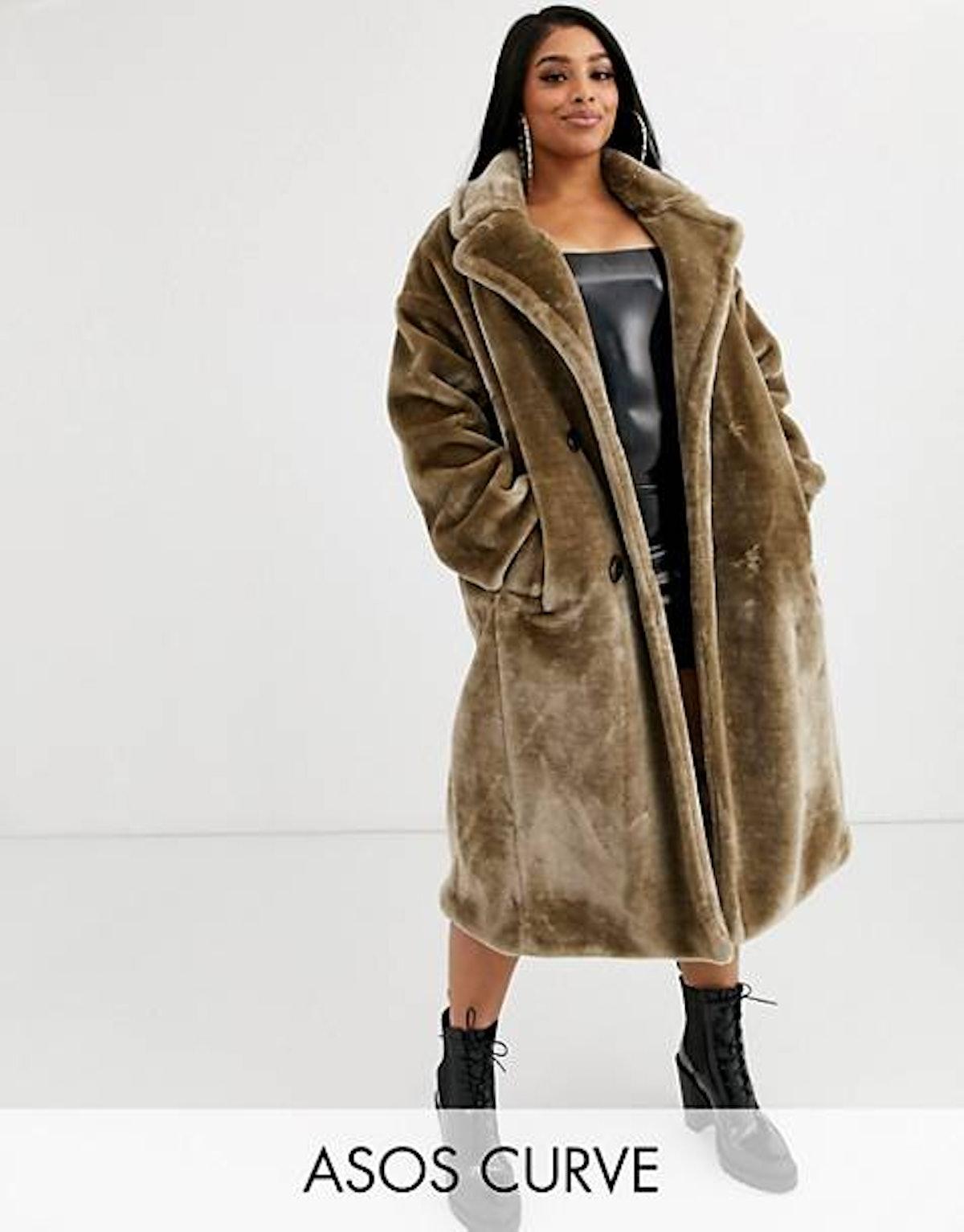 ASOS DESIGN Curve plush faux fur maxi coat with seam detailing in gray