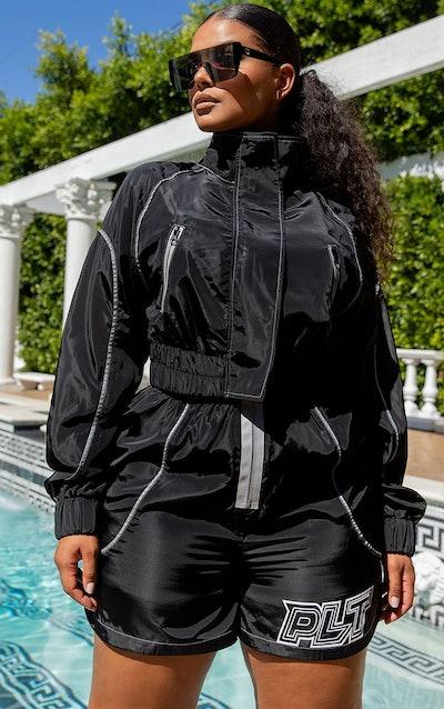Plus Black Zip Detail Shell Cropped Jacket