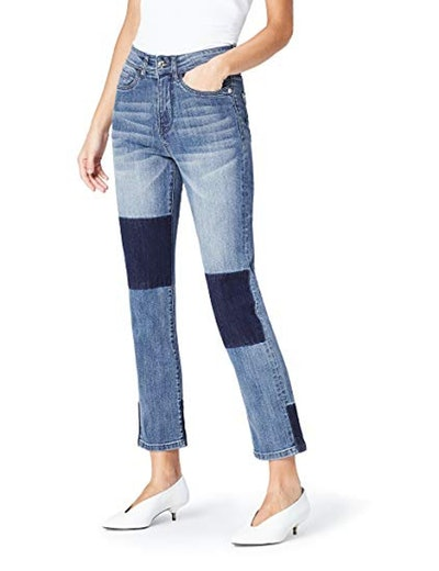 find. Straight Leg High Rise Contrast Jeans