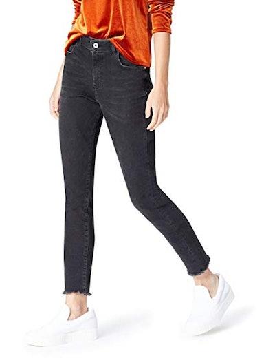 find. Frayed Hem High Rise Skinny Jeans
