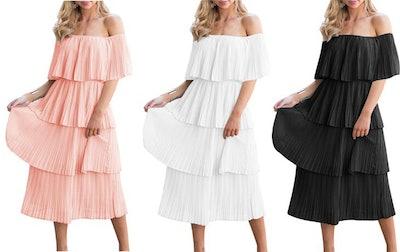 ETCYY Tiered Ruffle Midi Dress