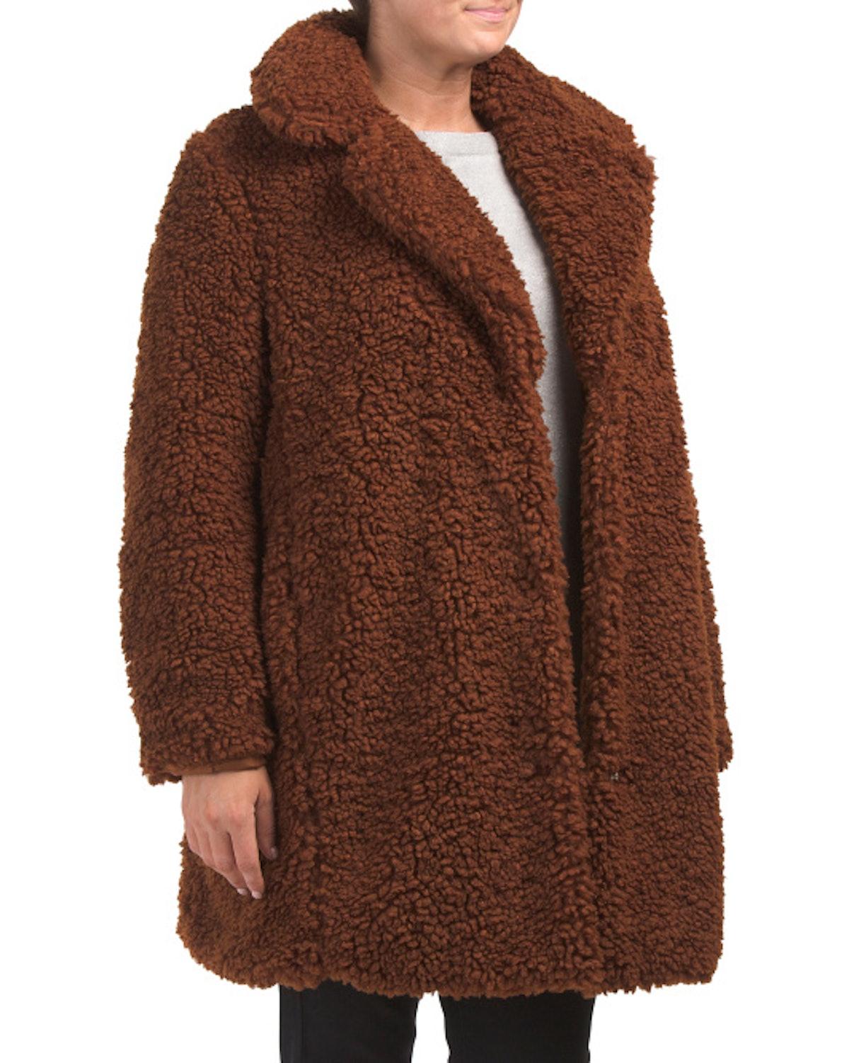 Kensie Plus Teddy Bear Faux Fur Coat