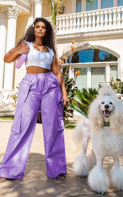 Plus Lilac Zip Pocket Detail Wide Leg Cargo Pants