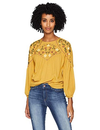 Serene Bohemian Embroidered Mustard Blouse