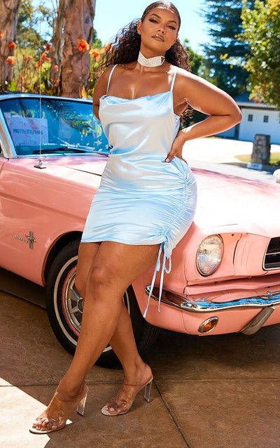 Plus Baby Blue Satin Cowl Ruched Side Bodycon Dress