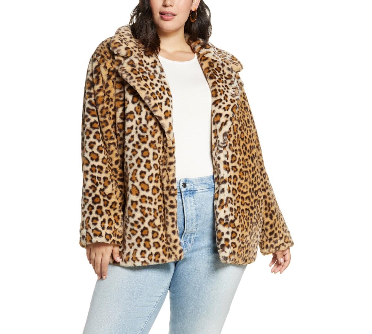 Halogen Leopard Print Faux Fur Coat