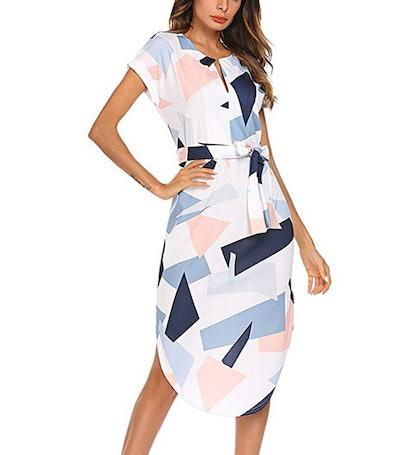Temofon Belted Geometric Shift Dress