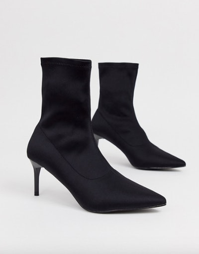 RAID Lillian Black Pull On Pointed Sock Boots