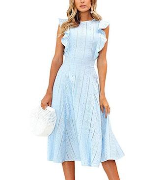 ECOWISH Ruffled Cap Sleeve Midi Dress