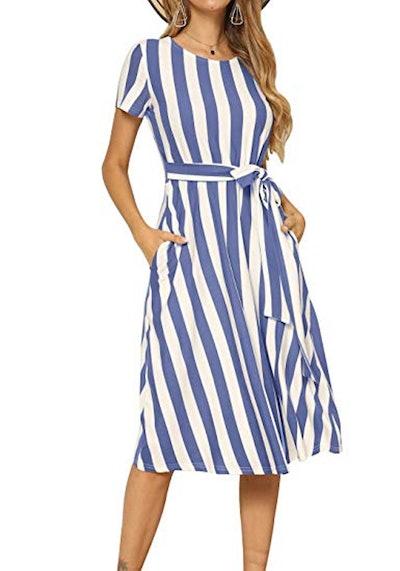 levaca Striped Midi Dress