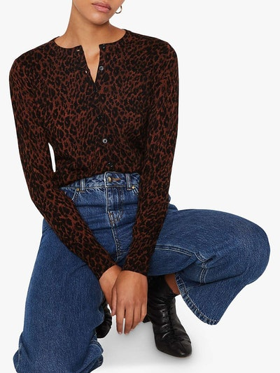 Warehouse Leopard Print Cardigan