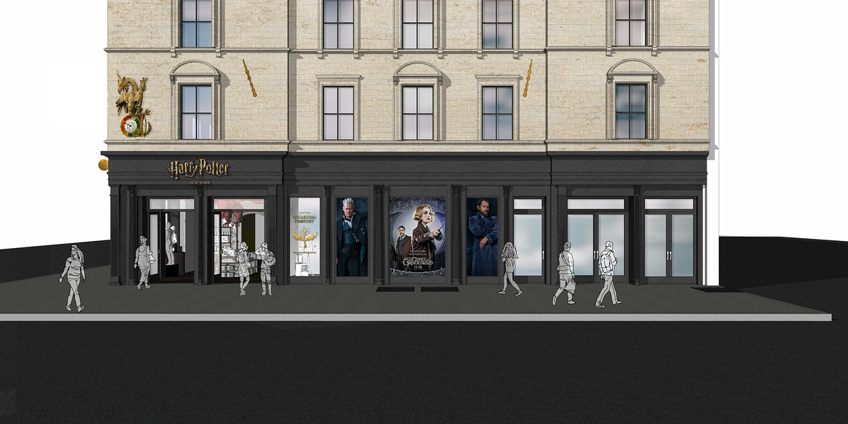 Concept art for the 'Harry Potter' flagship store in NYC shows posters for 'Fantastic Beasts' in the window.