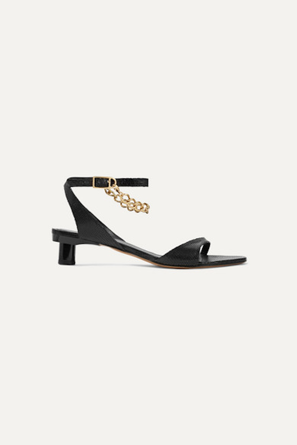 Tibi Nathan Chain-Embellished Snake-Effect Leather Sandals