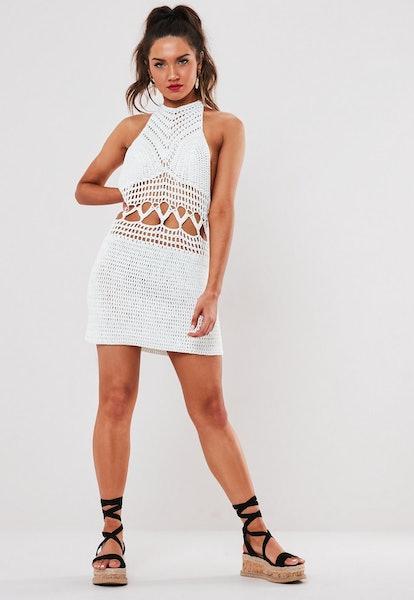 White Crochet Halterneck Mini Dress