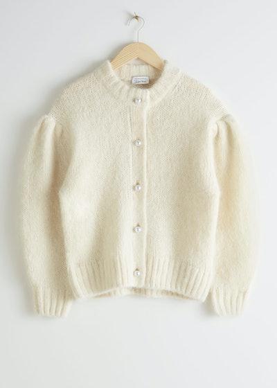 Pearl Button Puff Sleeve Cardigan