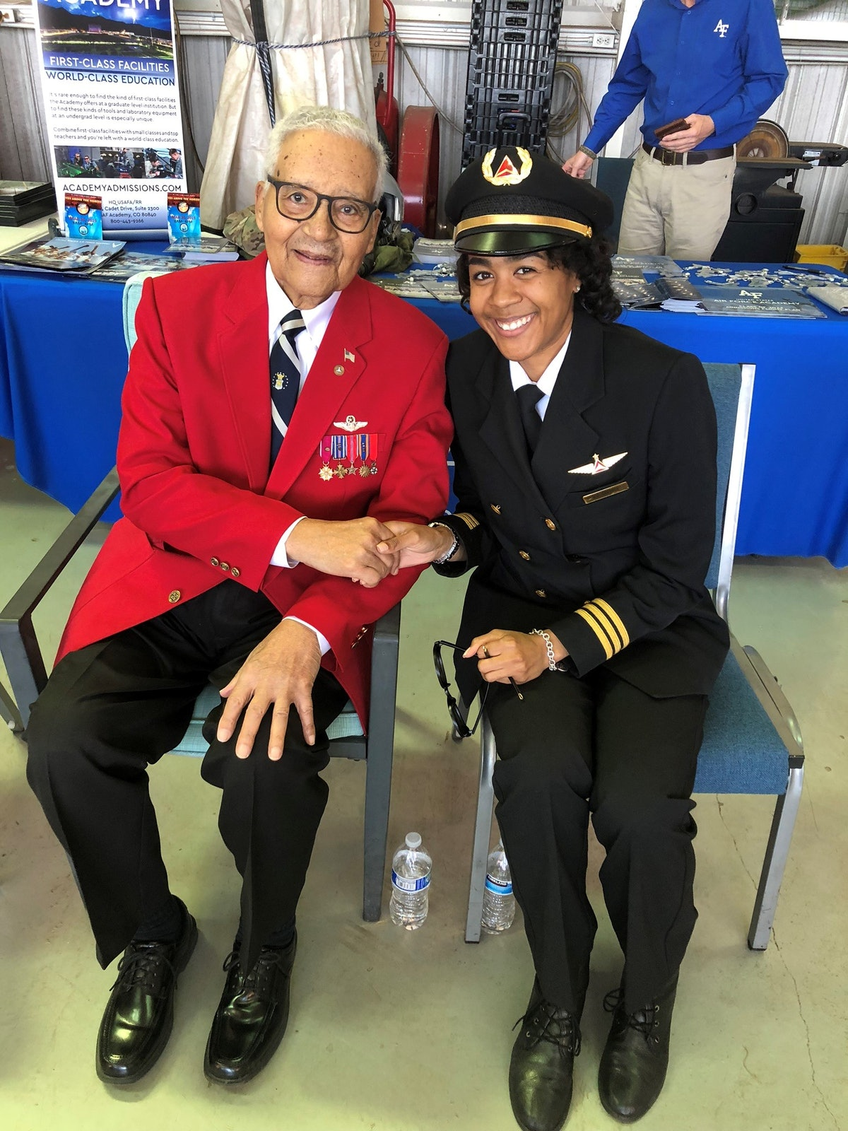 This is Grayson with Tuskegee Airmen Col. Charles McGee, a retired fighter pilot.