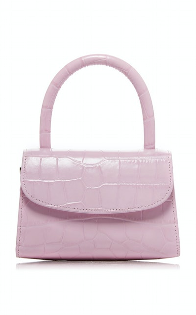 Mini Croc-Effect Leather Top Handle Bag