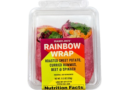 The Rainbow Wrap is ready to eat.