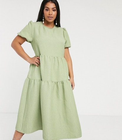 Tiered Maxi Smock Dress In Quilted Fabric