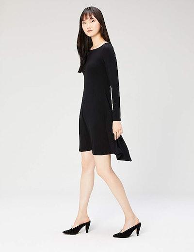 Amazon Brand - Daily Ritual Women's Long-Sleeve Bateau-Neck Dress