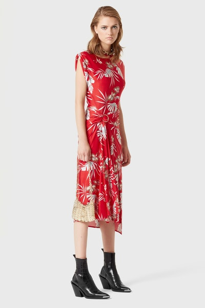 Red mid-length dress in printed jersey