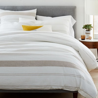 Hemp & Cotton Serene Stripes Duvet Cover & Shams - Natural/Desert Flax