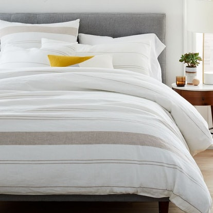 Hemp & Cotton Serene Stripes Duvet Cover & Shams - Natural/Desert Flax