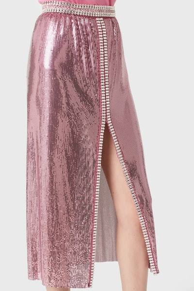 Aluminum midi skirt in pink mini-mesh