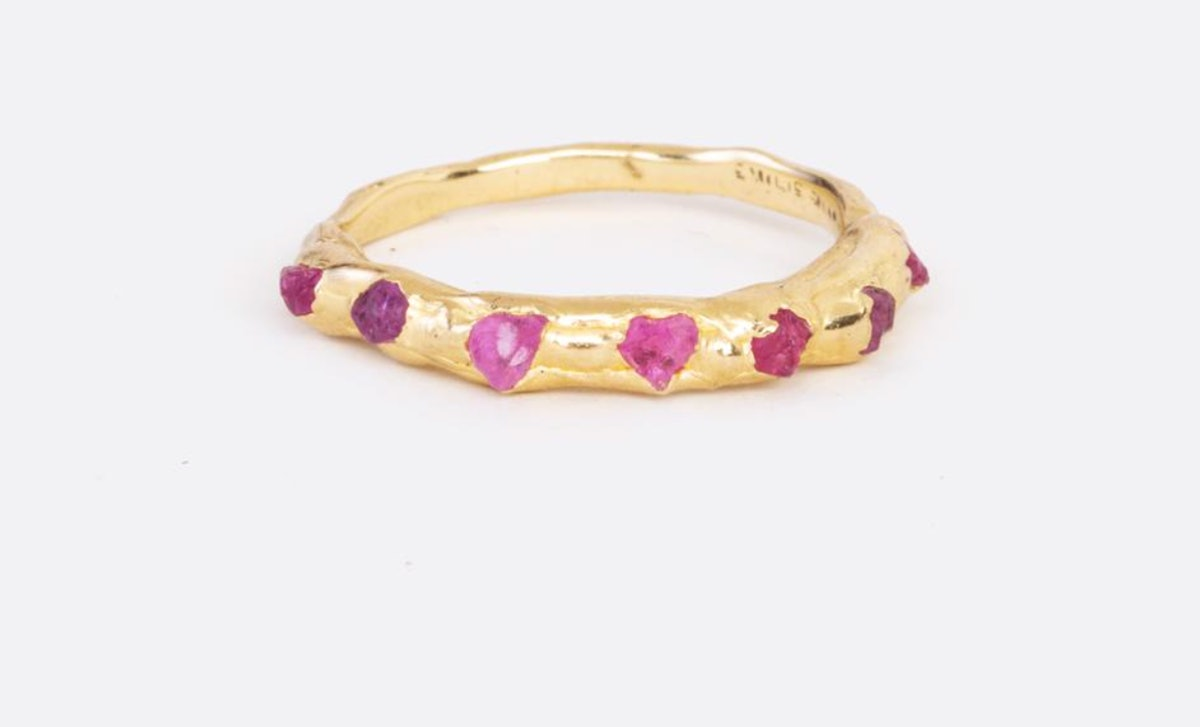Pink Sapphire Flower Crown Ring