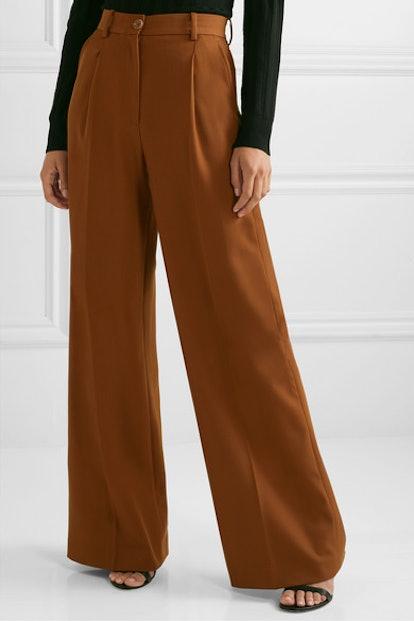Twill wide-leg pants