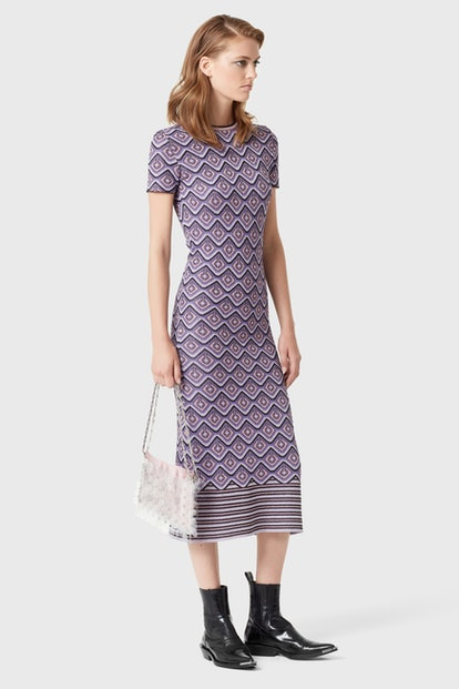Long fitted dress in printed lurex