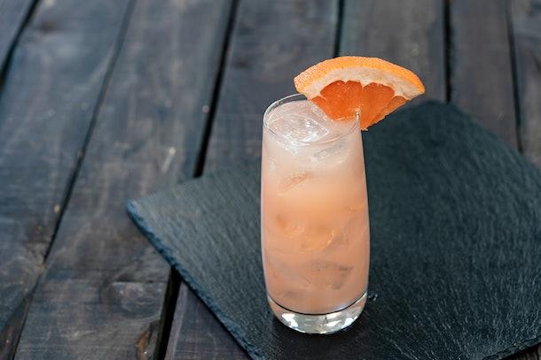 The Lychee-Grapefruit Gin Spritzer drink is served at Disneyland's Lunar New Year celebration.