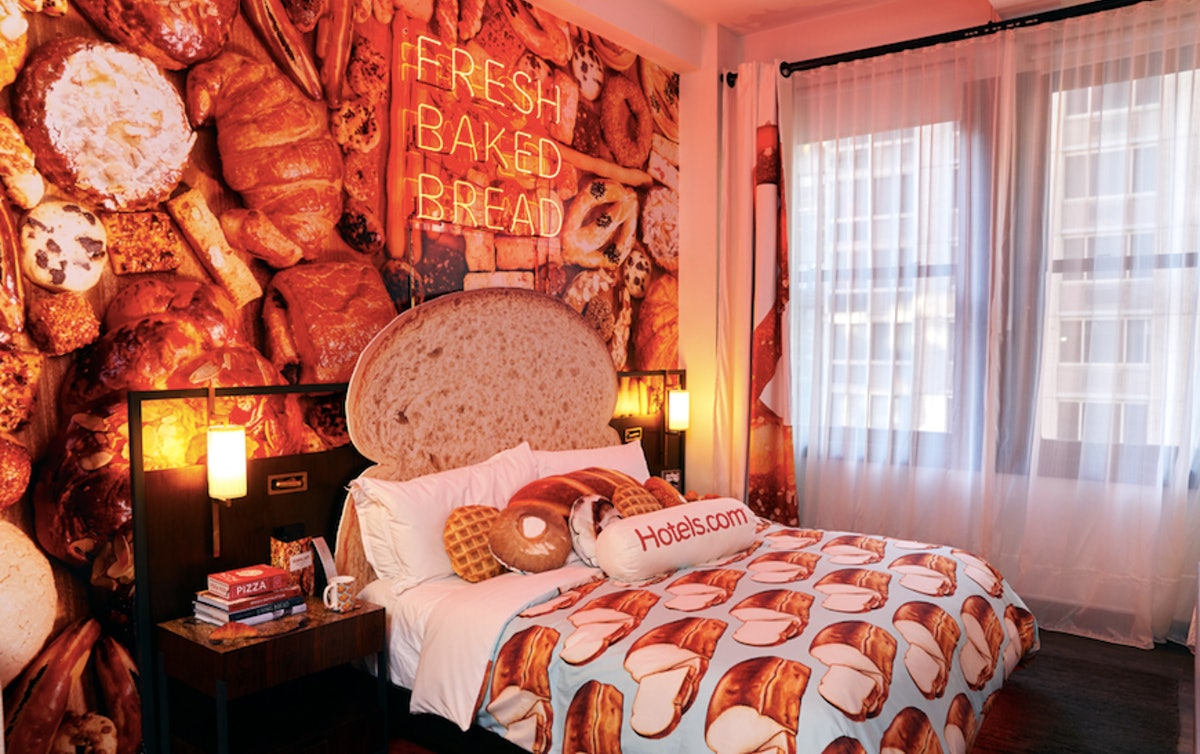 Hotels.com's Bread and Breakfast Hotel features carb-filled decorations.