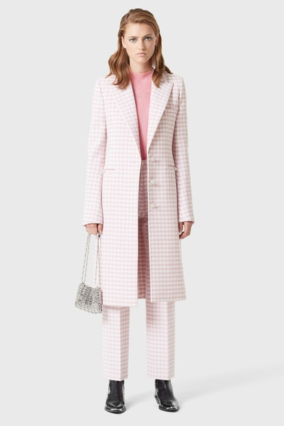 Pink gingham wool coat
